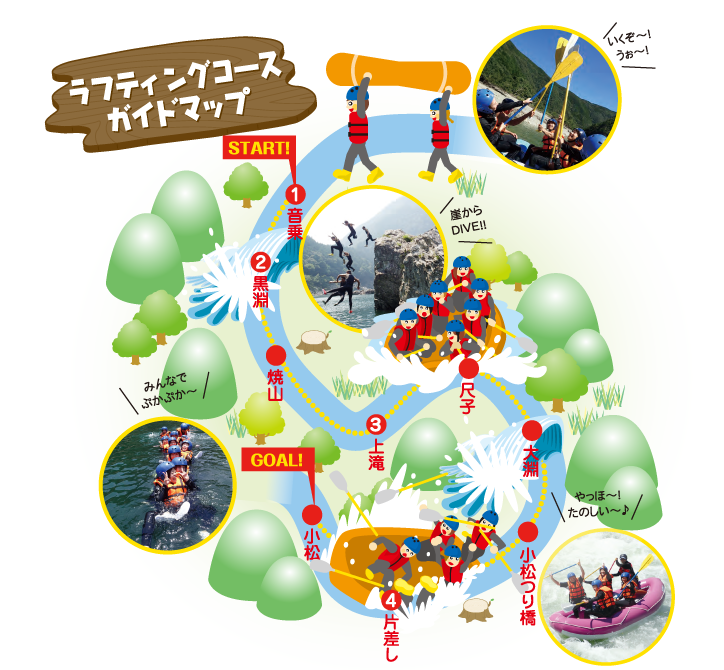 ラフティングコースガイドマップ